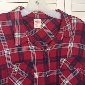 Red flannel button front shirt